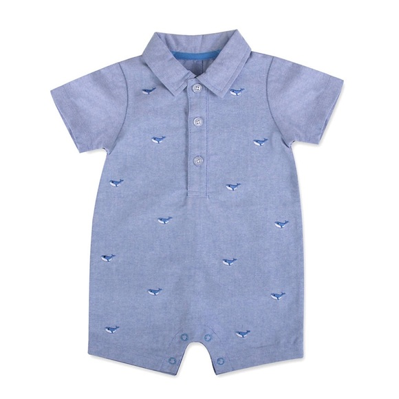 ba795d6c98 crown & ivy Other - Crown & Ivy Baby Boy Chambray Whale Print Shortall